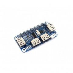4 Port USB HUB HAT for Raspberry Pi (WS-12694) 4 Port USB HUB HAT for Raspberry Pi, USB to UART Onboard