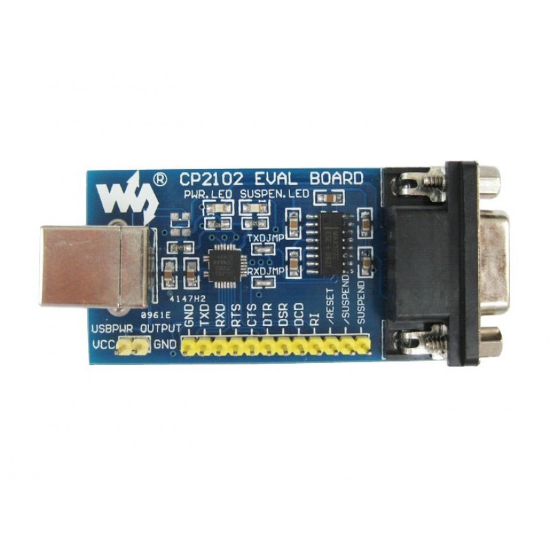 cp2102 eval board (waveshare 574) usb, rs232, db9 connector