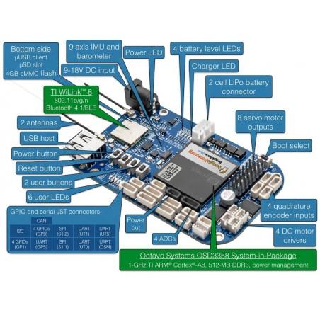 BeagleBone Blue (BB BLUE) OSD3358, 512MB, eMMC 4GB, USB,RS232,Ethernet,I2C,CAN,SATA,SPI,UART,ADC,GPIO