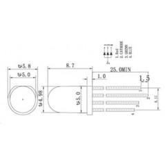 5ks (5x)  LED 5mm RGB Triple Output - Common Cathode 5pcs (ER-CLC50350C)