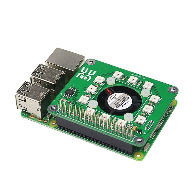 Raspberry Pi 3 Smart Temperature Fan RGB LED DS1302 Real Time Clock Hat  Board (ER-RAA04036B)
