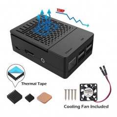 Raspberry Pi 3B+ Case with Cooling Fan + Heatsinks (ER-RPA07510C)