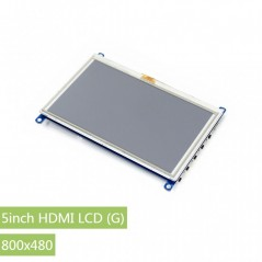 5inch HDMI LCD (G), 800x480, supports various systems, resistive touch (WS-14447)