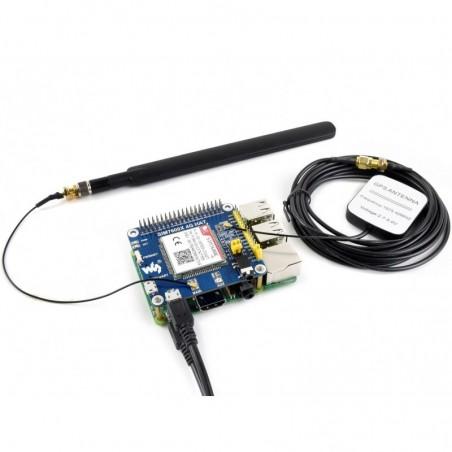 4G / 3G / 2G / GSM / GPRS / GNSS HAT for Raspberry Pi, LTE CAT4 (WS-14952)  SIM7600E 4G HAT