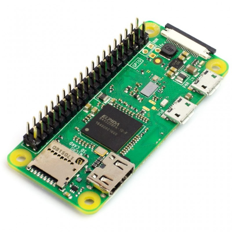 Raspberry Pi Zero WH with a header (1GHz CPU, 512MB ,BT4.1/BLE, WiFi b/g/n, HDMI,USB)