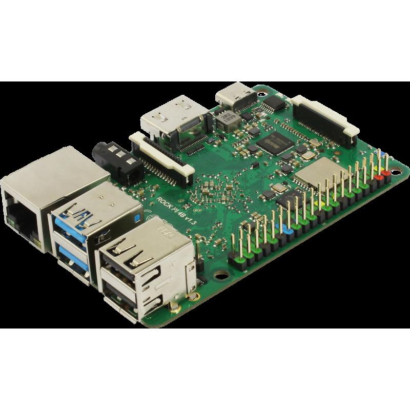 Rock Pi 4 Model A 1GB, RK3399, Mali T860MP4, USB C, Optional eMMC