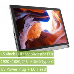 15.6inch Universal Portable Touch Monitor (for EU), 1920×1080 Full HD, IPS, HDMI/Type-C  (WS-16549)
