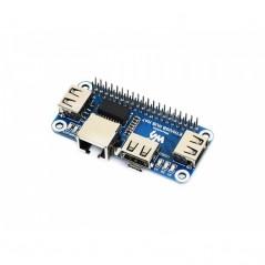 Ethernet / USB HUB HAT for Raspberry Pi, 1x RJ45, 3x USB (WS-16595)