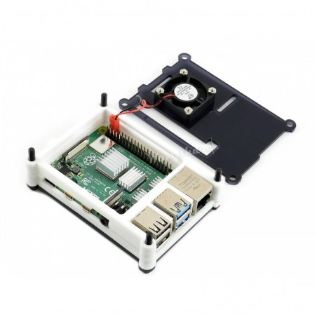 Raspberry Pi 4 Case Black/White Acrylic  with Cooling Fan (WS-16931)