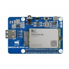 SIM8200EA-M2 5G HAT for Raspberry Pi, 5G/4G/3G Support, Snapdragon X55, Multi Mode Multi Band (WS-18578)
