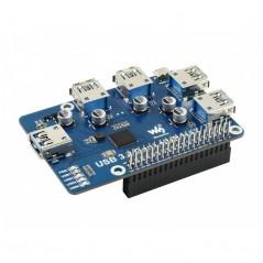 USB 3.2 Gen1 HUB HAT for Raspberry Pi, 4x USB 3.2 Gen1 Ports, Driver (WS-17584)