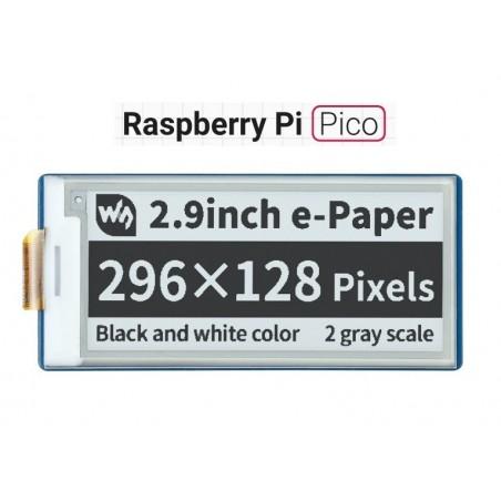 2.9inch E-Paper E-Ink Display Module for Raspberry Pi Pico, 296×128, Black / White, SPI (WS-19408)