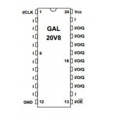 GAL20V8B-25LP PLD 8MACRO 5.0V 25nS DIP24