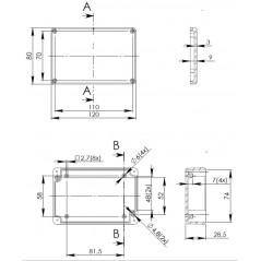 ABS-76Z univerzálny BOX (Arduino, Raspberry Pi,..) 80x120x36mm
