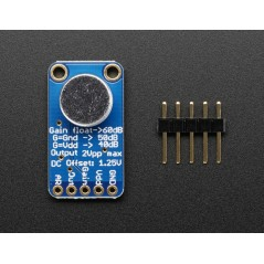 Electret Microphone Amplifier - MAX9814 with Auto Gain Control (Adafruit 1713)