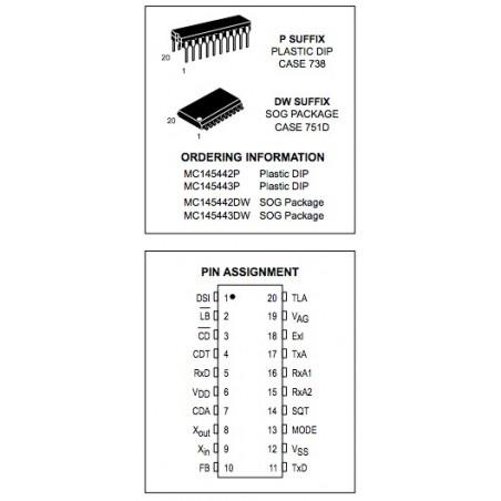 MC145443P DIP20 SINGLE CHIP MODEM BELL 103  MOTOROLA