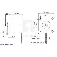 Stepper Motor: Bipolar, 200 Steps/Rev, 35×28mm, 10V, 0.5 A/Phase (POLOLU-1208)
