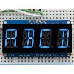 "Quad Alphanumeric Display - Blue 0.54"" Digits w/ I2C Backpack (Adafruit 1912)"