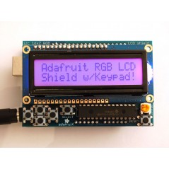 RGB LCD Shield Kit w/ 16x2 Character Display - Only 2 pins used!  (Adafruit 716)