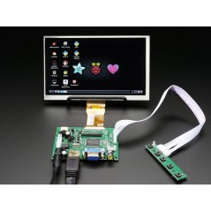 "HDMI 4 Pi: 7"" Display no Touchscreen 1024x600- HDMI/VGA/NTSC/PAL (Adafruit 2299)"