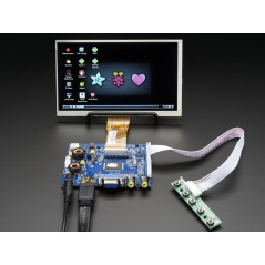 "HDMI 4 Pi: 7"" Display & Audio 1024x600 - HDMI/VGA/NTSC/PAL (Adafruit 2301)"