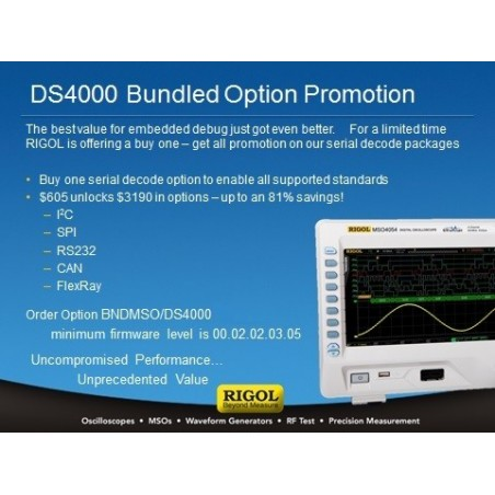 BND-MSO/DS4000 (Rigol) Serial Bus decoding bundle for MSO/DS4. Inc. I2C, SPI, CAN, FLEXRAY, RS-232